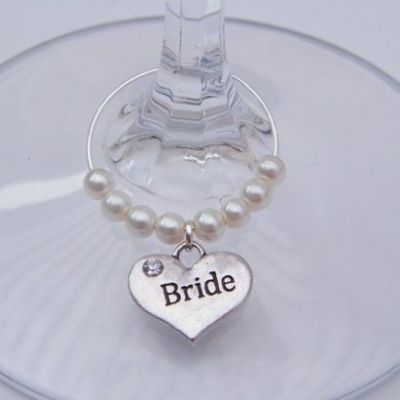 Bride Wine Glass Charm - Beaded Style